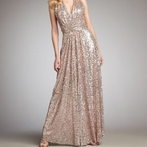 Belle Badgley Mischka Rose Gold Sequin Dress